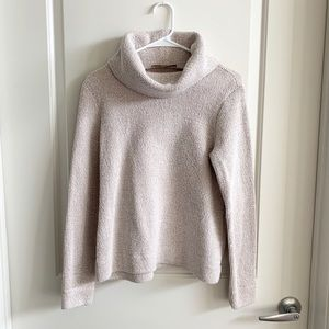 LOFT Tan/White Cowl Neck Sweater | Medium